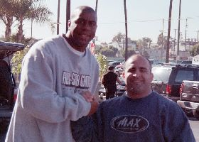 Magic Johnson with joe Antouri at Golds Gym in Venice Ca