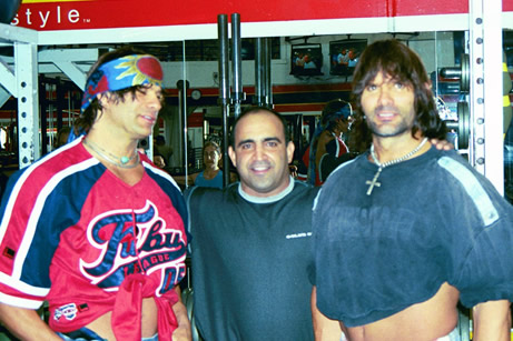 David and Peter Paul, the Barbarian Brothers with Joe Antouri at Golds Gym in Venice, CA