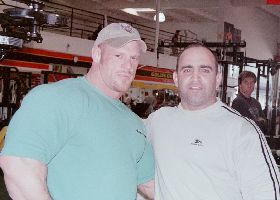 Tom Prince and Joe Antouri at Golds gym in Venice CA.