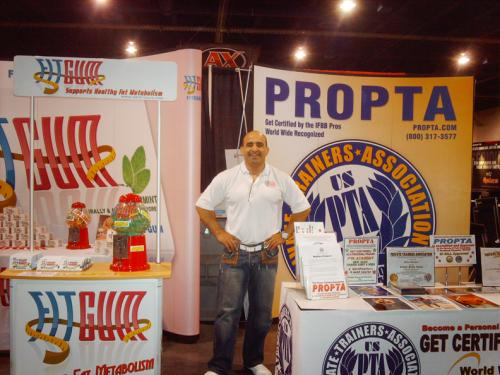 Joe Antouri at the FITGUM and PROPTA booths at the FITEXPO.