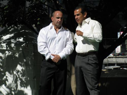 Mayor Antonio Villaraigosa and Joe Antouri in Downtown LA.